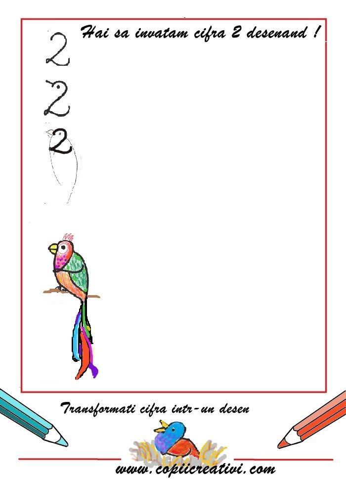 Cifra 2-  transforma cifra 2 intr-un desene: ghiocel, sarpe, veioza, papagal