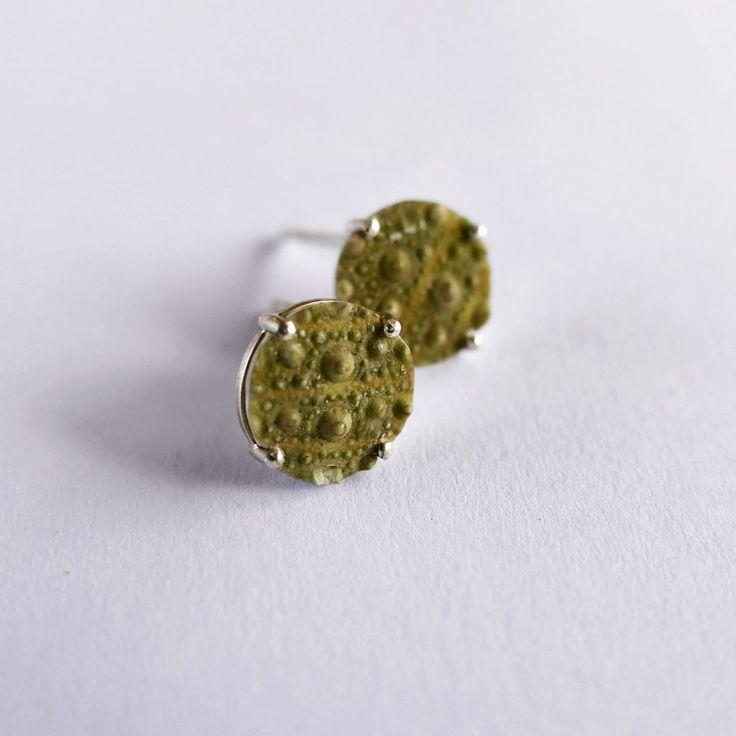 Sea Urchin studs #sealife #present #jewellery #earrings #green #nature #designer