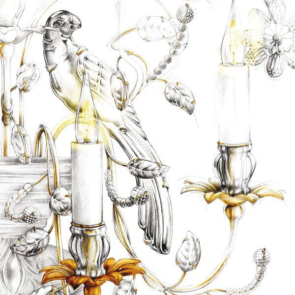 illustration luminaire pampilles BAGUES Florence Gendre #illustration #design #luxe