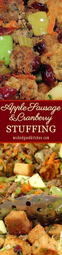Apple Sausage and Cranberry Stuffing ~ Fresh, savory, tart, sweet and festive, the perfect stuffing for #Thanksgiving or #Christmas #Holidays! Featured at the http://Allrecipes.com site with a 5-star rating and over 2,000 reviews. It will rock your ever-loving turkey stuffing world! | diy gluten free option recipe