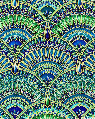 Peggy Toole - Lumina - Jewel Encrusted Fans - Quilt Fabrics from www.eQuilter.com