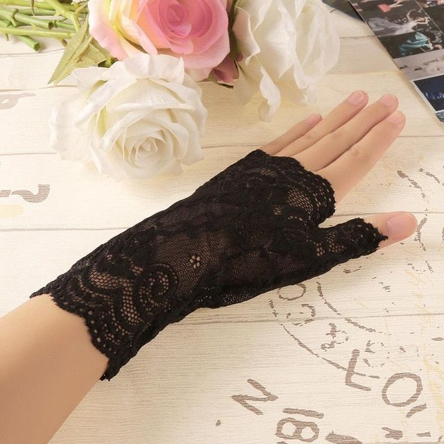 White Pick your size Pair of Fingerless Lace Gloves
