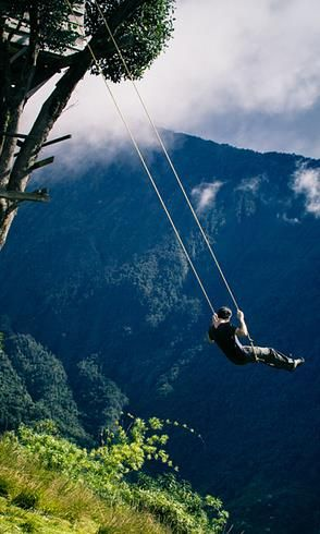 "The swing at the ""End of the World"" in Baños, Ecuador It would probably break on me..but its worth a shot :p"