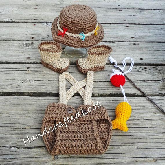 Newborn Fishing Outfit Newborn Fishing Set Crochet