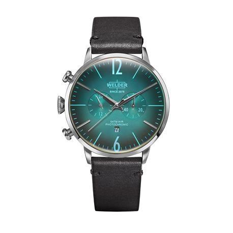 Reloj señora y caballero WELDER Moody. Cuero negro. Azul neon. WRC300