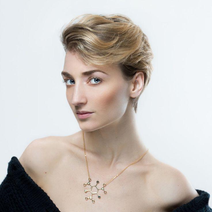 Molecule necklace | TNT necklace | Gold necklace | chemistry jewelry | chemistry necklace | molecule necklace by MoleculENecklacE on Etsy