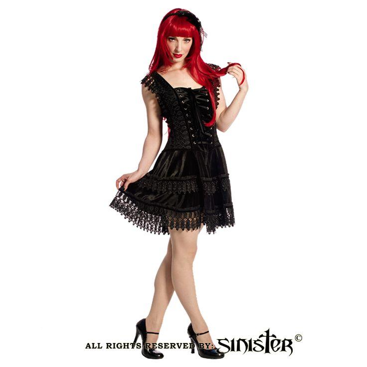 Black velvet and lace gothic minidress by Sinister (Dress 762) www.sinister.nl