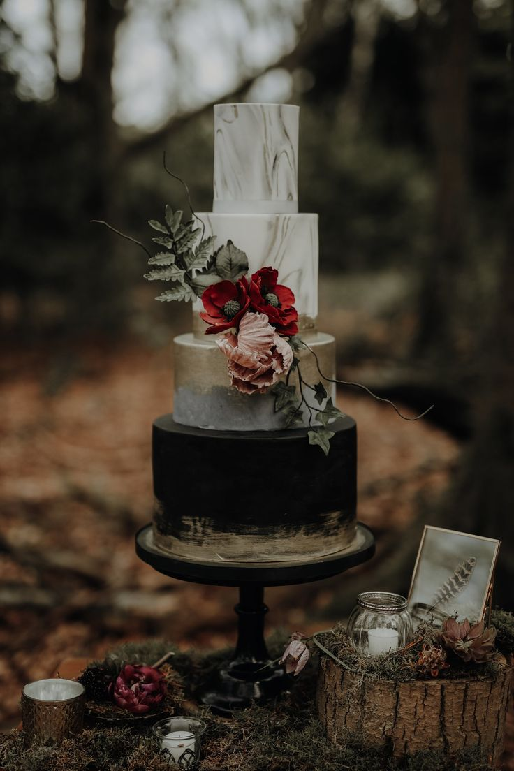 Bold wedding cake, marble, black, gold, concrete and burgundy sugar flowers Cake by Meadowsweet Cakes photography by Ayelle Photo and Video