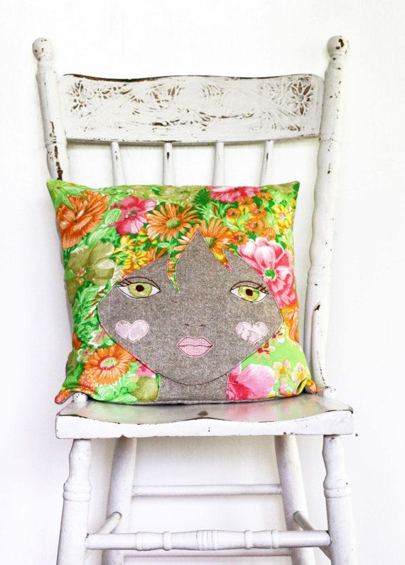 Doll face cushion pillow vintage bright mod afro by Obelia Design, $95.00