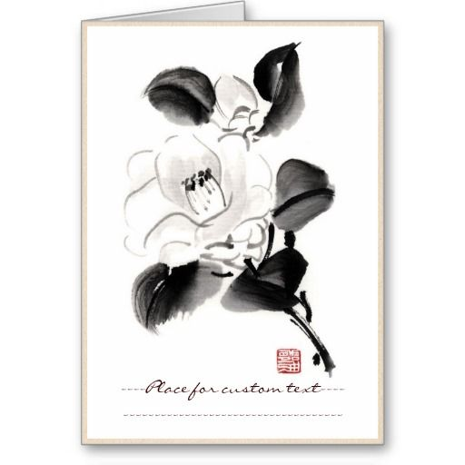Classic oriental chinese sumi-e ink flowers paint cards