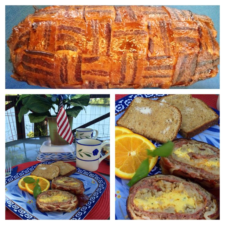 """My smoked breakfast """"fatty"""" with pork sausage; deli ham; hash browns & onions; scrambled eggs and cheddar cheese rolled and wrapped in a bacon weave. So good!"""