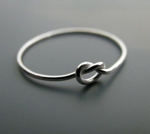 Tiny Knot Promise Ring- Gold for guy, Silver for girl
