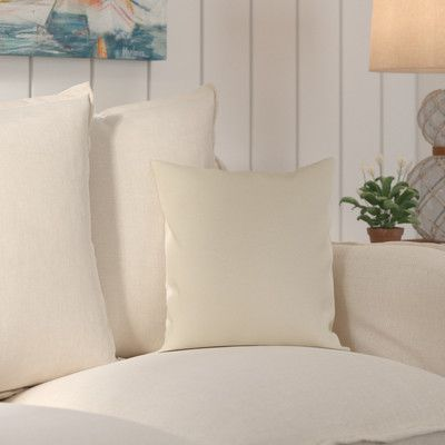 "Beachcrest Home Wiscasset Indoor/Outdoor Throw Pillow Size: 16"" H x 16"" W x 4"" D, Color: Beige"