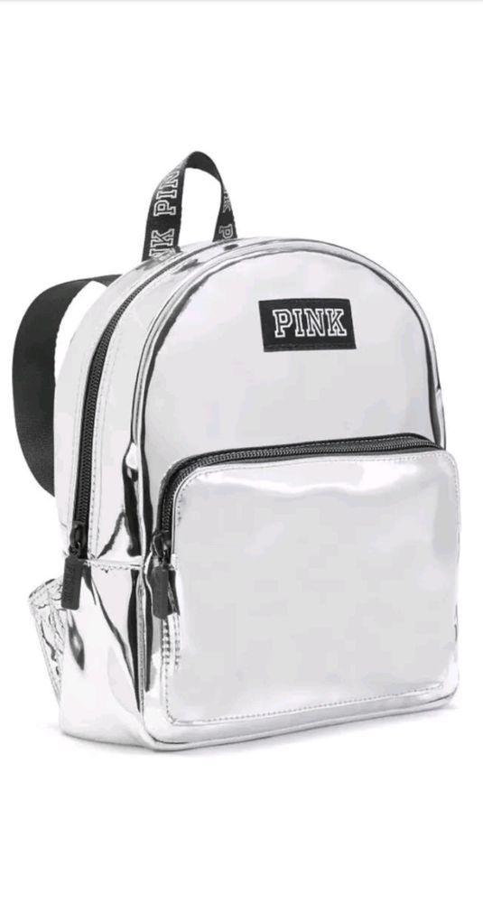 Victoria s Secret PINK Metallic Silver Small Mini Backpack  NWT ... 02f5034742721