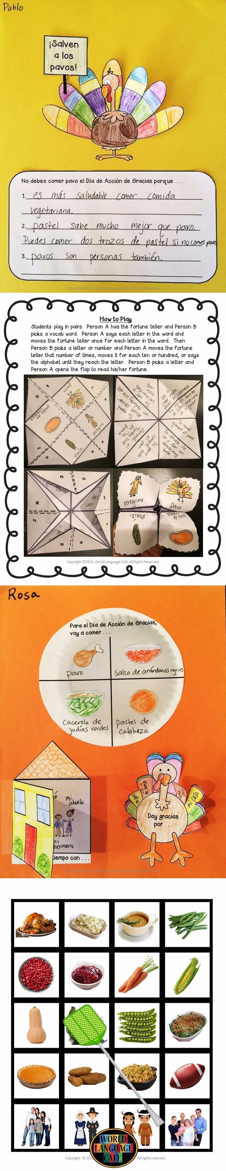 Spanish Thanksgiving writing activities, craftivities, fortune tellers, flashcards, and games to make Spanish class come alive in November.  Save time with these activities and you might even have time to bake pies and clean the house before your relatives arrive.  :)