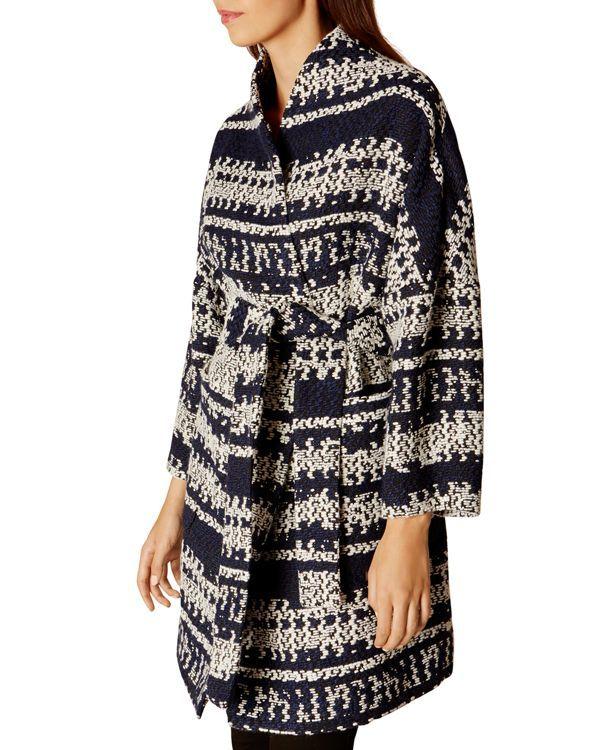 Karen Millen Geo Knit Wrap Coat