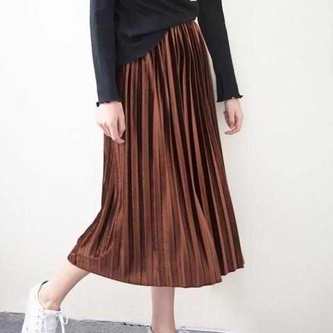 44ed5eaab9b Spring Summer Fashion Skirt High Waist Velvet Pleated Skirt Women Solid  Elastic Waist Skirt Female