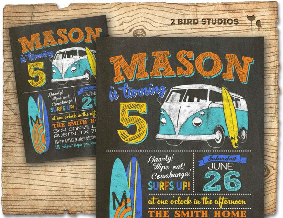 Surfs up! Hang ten with this vintage surf theme invitation. Perfect start to an awesome summer birthday party!
