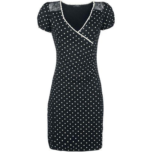 <p>Mooi jurkje van Viva Maria in zwart met polka dotjes in Rockabilly stijl, een asymmetrisch doorlopende halslijn jurkje is geheel gevoerd.</p>