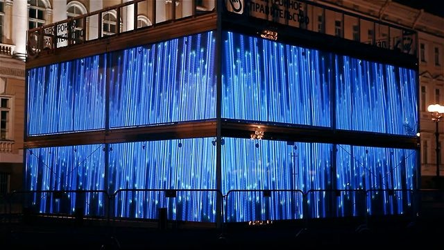 Rostelecom Cube Russian Tour  Date: 10.06.12-10.10.12  Place: Saint-Petersburg, Ekaterinburg, Novosibirsk, Vladivostok.   Object: 4 sides glass cube  Client: Digital October Group  Equipment: 12 projectors Panasonic, Screenberry server.  Art directed by: Pavel Paratov  Produced by: Alex Rozov & Alexander Us  Technical directed by: Dmitry Napolnov  Technical help: Denis Akopov    Digital Artists:  Pavel Paratov  Alex Mamontov  Vitaliy Yakin  Mike Oshin      Shooting and final cut by: Kinounit