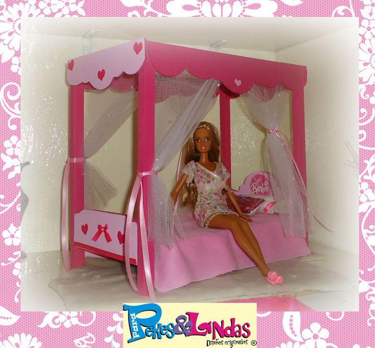 Camita con dosel para Barbie