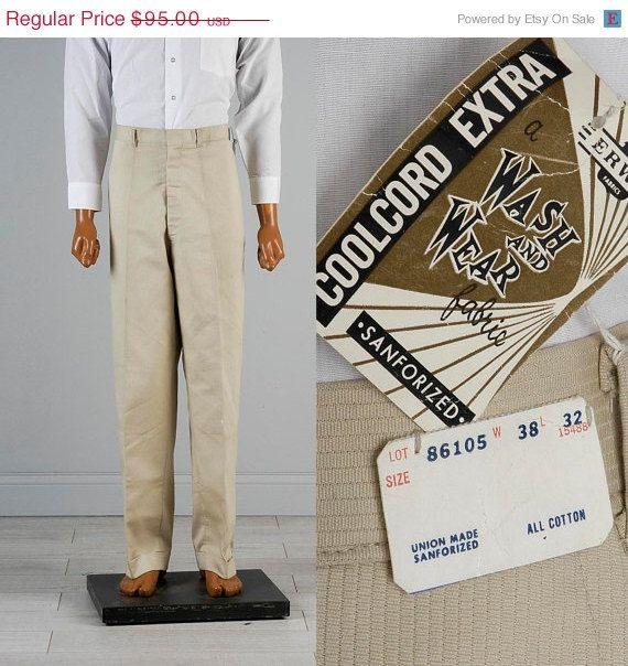 10% OFF NOS Deadstock Mens Vintage 50s Sanforized Cotton Union Made Textured Stripe Tan Pants Trousers Slacks 38 32