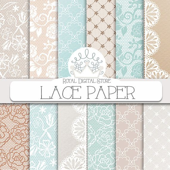 """Lace Digital Paper: """"LACE PAPER"""" with lace background, mint lace, beige lace, lace pattern for scrapbooking, cards, invitations #wedding #shabby #digitalpaper #scrapbookpaper"""
