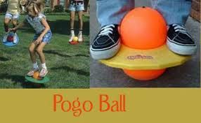 Pogo Ball -1987  I bought one with my OWN money.  Mine was purple & green.  Never, never use Pogo Ball with bare feet.  It will rip your skin off from the friction against the rubber ball.