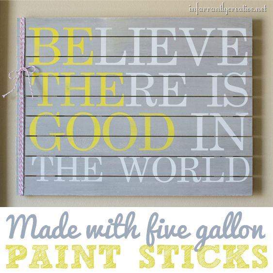 "DIY Home Decor | DIY Wall Art | Love inspirational quotes? Make this ""Be the Good in the World"" sign made from paint sticks!"
