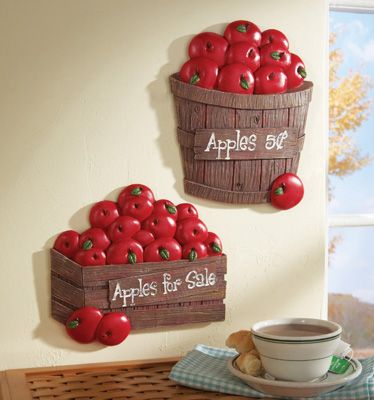 Exceptional Set Of 2 Bushel Of Apples Kitchen Wall Decor
