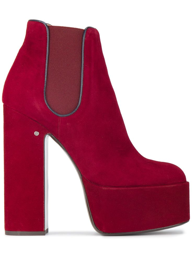 LAURENCE DACADE | Red Suede 160 platform chelsea boots #Shoes #LAURENCE DACADE