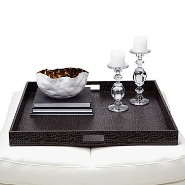 Everglades Large Square Tray - Brown   Bar Tables & Trays   Tableware   Z Gallerie