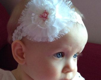 Christening Headband Baptism Headband by TheOhSoBellaBoutique