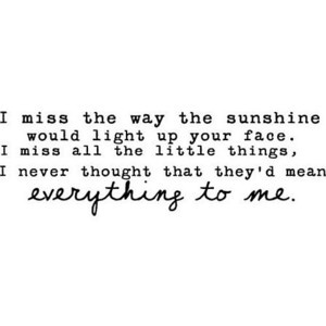 I miss the way the sunshine would light up your face. I miss all the little things, I never thought they'd mean everything to me.