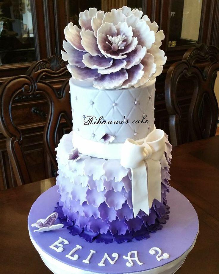 ...Ruffle flower cake... . .#cake#rufflecake# fondant#fondantcake #cakedeco#cakedecorating#cake#cakes #cakeinstyle#cakeinstag#کیک# luxurycake#customcake #cakesofinstagram #cakedecorating#cake ruffle #vanillacake# purple#