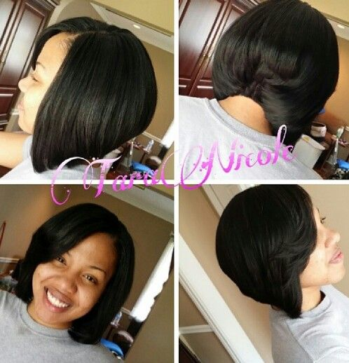 weave ponytail hairstyles with bangs : Bob Action. Quick weave. Double Cap no glue on hair. Easy pull off ...