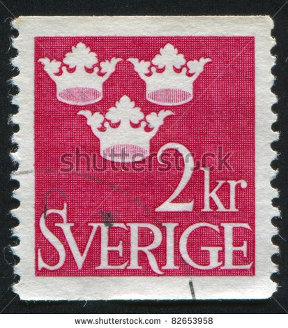SWEDEN - CIRCA 1939: stamp printed by Sweden, shows Three Crowns, circa 1939.