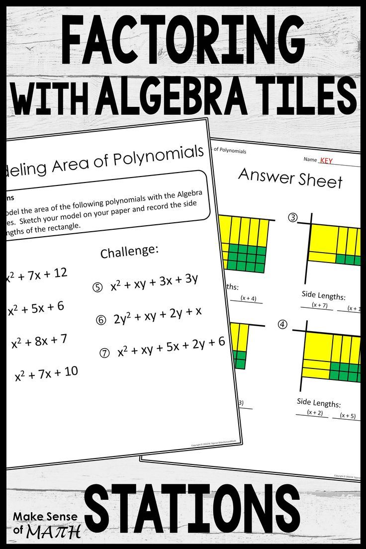 Factoring With Algebra Tiles Polynomials Maths Activities Middle School Algebra