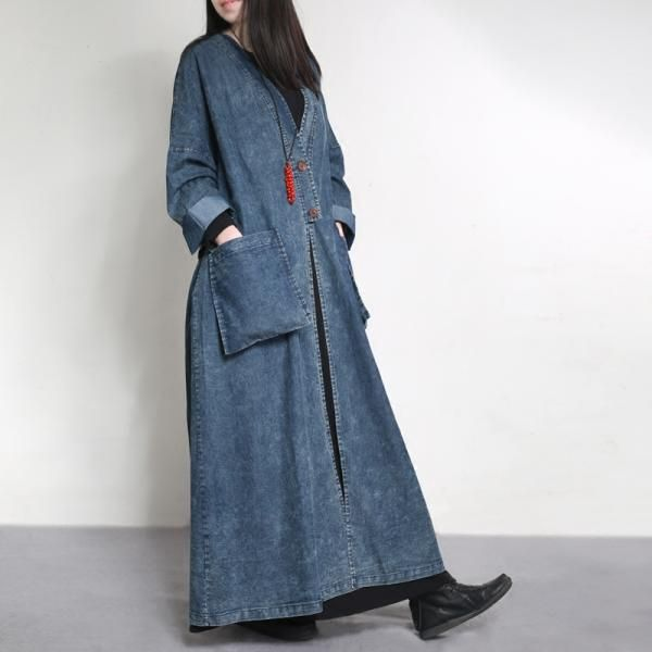 Latest Fashion Drawstring Waist Denim Coat Vintage Plus Size Outerwear    #outerwear #denim #vintage #plussize #coat #overcoat #woman #ootd #elegant