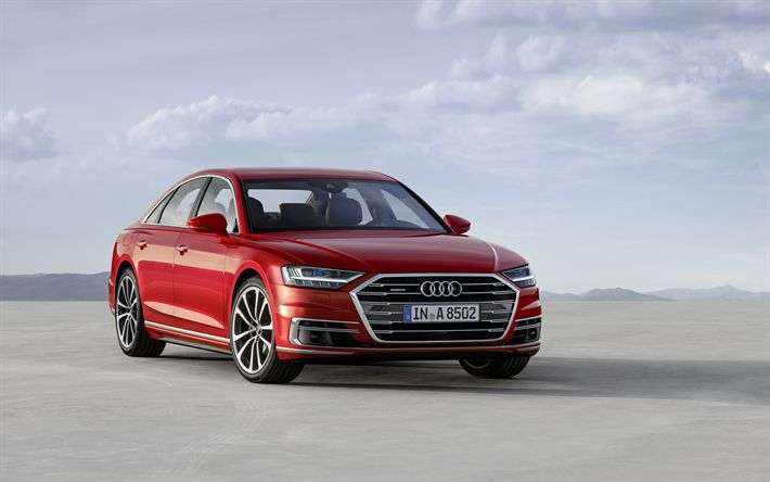 Descargar fondos de pantalla Audi A8, 4k, 2018, el sedán de lujo, rojo A8, Audi