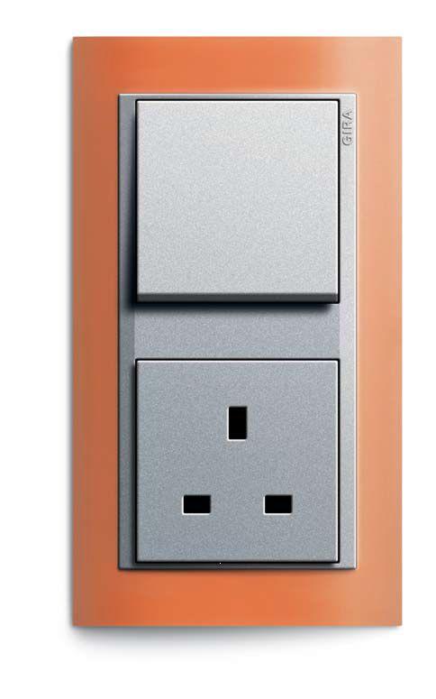 Unique Gira Event Opaque opaque orange colour aluminium push switch British Standard