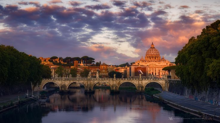 Violet Dawn - Once again Vatican city from Umberto's Bridge. This time the shot was taken at the first  orange-red light of the dawn while the sky and plenty of beautiful clouds still retained violet-pinkish tone.