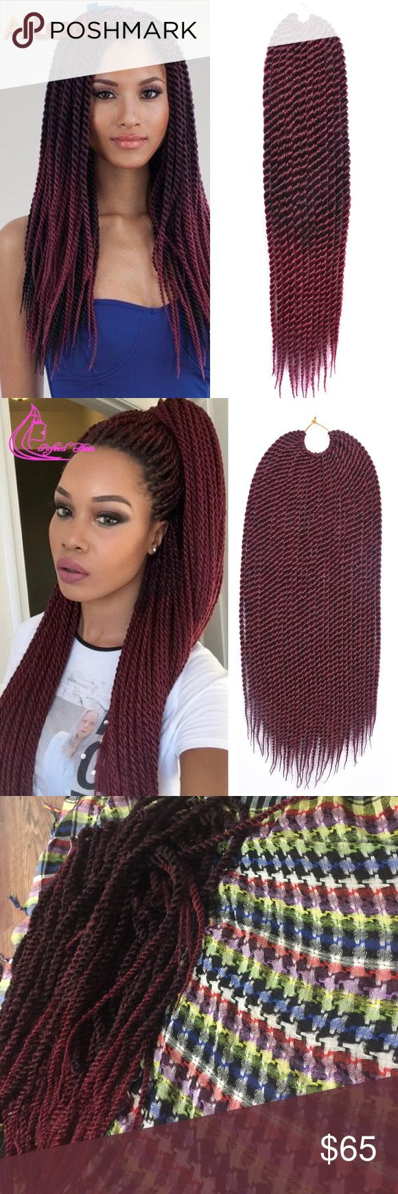 """Medium size Crochet Senegalese Twist 91 twist These are handmade by me! This is enough for one whole head! These won't unravel unless you personally take a comb to them and unravel them!! They are 20"""" it's burgundy ombré colored! Pre-looped! Accessories Hair Accessories"""