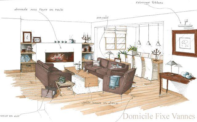 Architecte d'intérieur Vannes Morbihan Bretagne > DF Domicile Fixe : architecture: -> Croquis & Perspectives