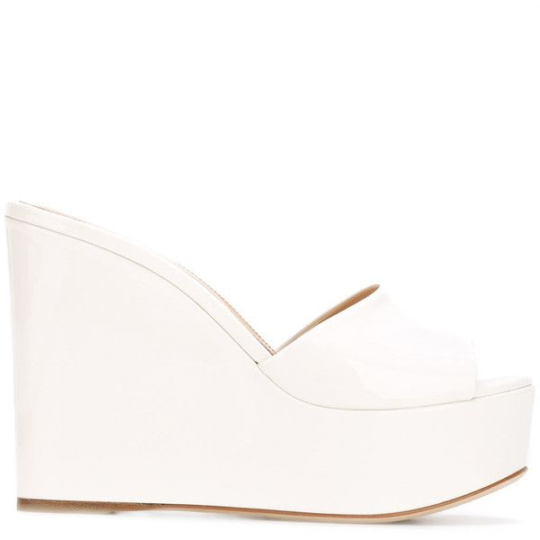 Sergio Rossi wedge sandals ($560) ❤ liked on Polyvore featuring shoes, sandals, white, wedge heel sandals, white wedge heel shoes, wedge heel shoes, white wedge shoes and wedges shoes