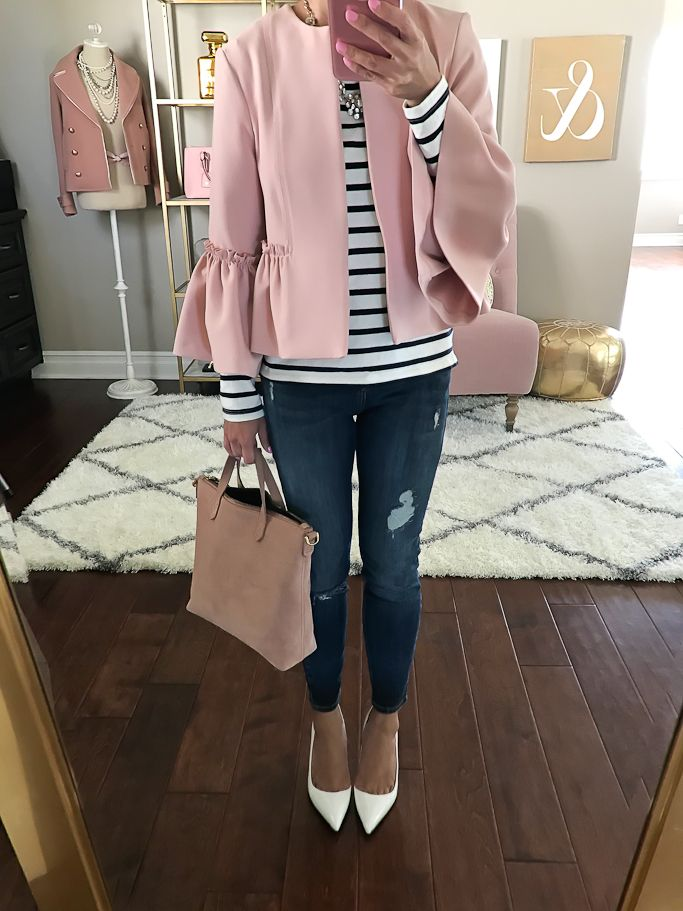 Mini Transport Suede Crossbody Bag, Manolo blahnik BB white pumps, Petite dark blue distressed Amelie jeans, striped shirt, Pink Crop Frill Raw Jacket, spring outfit idea, petite fashion blog - click the photo for outfit details!