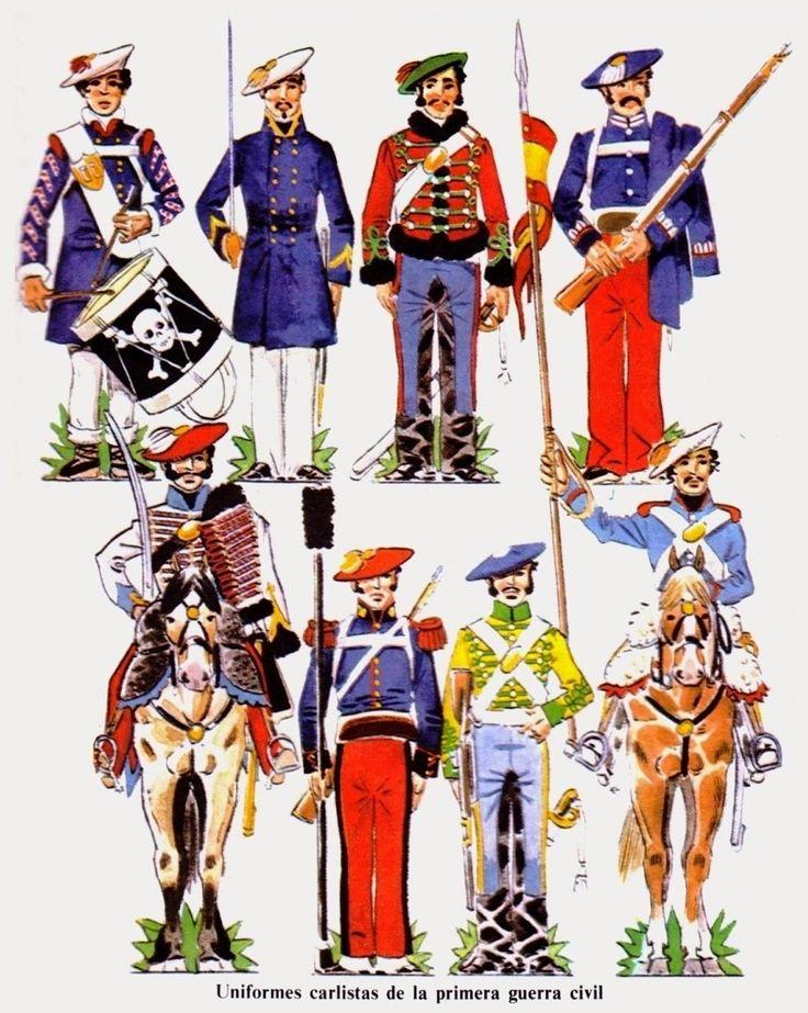 Distintos uniformes Carlistas de Caballería e Infantería