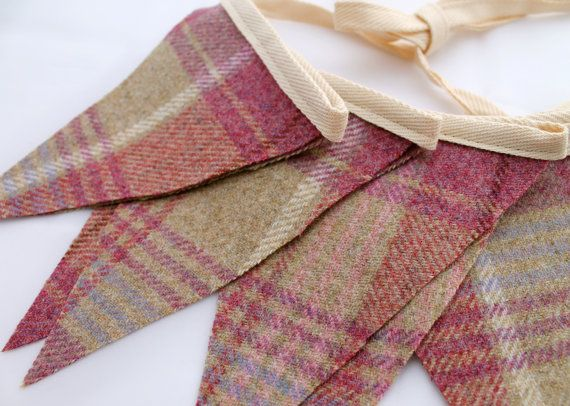Pink Tweed Fabric Bunting  2.5m or 3.5m with 12 by DaisyBelleShop