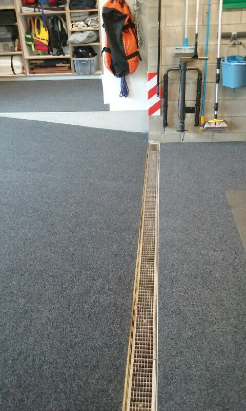 Complex Garage Carpet Install. Split levels, Sloping & Drainage to contend with.   Looks Amazing!