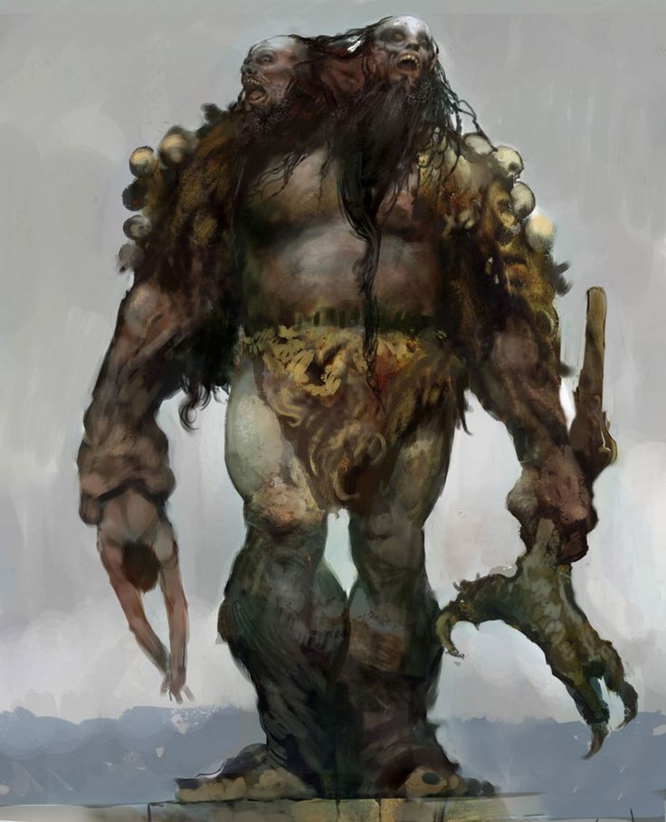 ETTINS are two-headed giants that stand about 13' tall and weigh 5,200 lbs. They are vicious and unpredictable hunters that stalk the night.  Though ettins aren't very intelligent, they are cunning fighters.